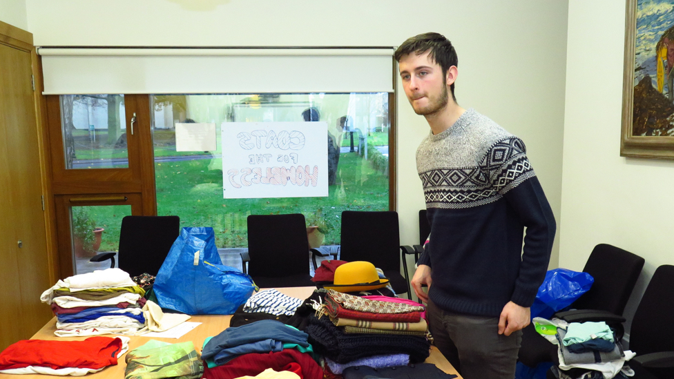 Matthew from Edmund Rice Camps, with the Coats for the Homeless campaign, Dublin
