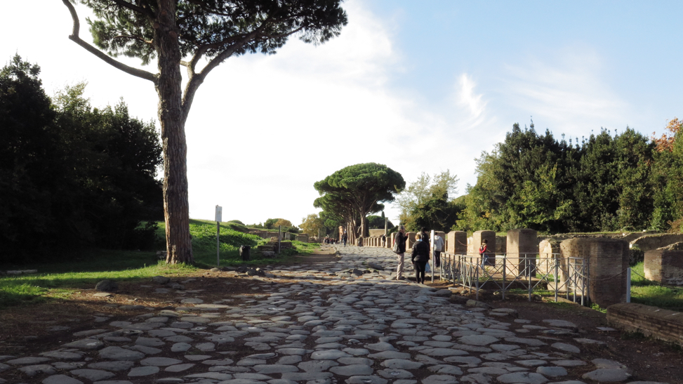 A Roman Road in Ostia Antica, the ancient port of Rome. Saint Paul may well have come down this or a similar road on his way to his Roman prison.