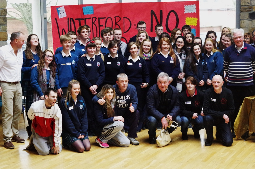 Phil Brennan, Romero Institute with Peter McVerry SJ, the High Hopes Choir members and pupils from Abbey Community School, Ardscoil na Mara, Carlow CBS and Midleton CBS